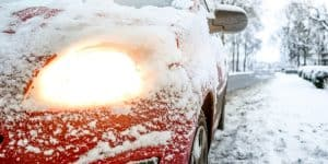 car light snow cold weather